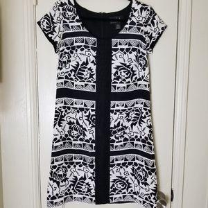 NICOLE MILLER silk black white short sleeve dress